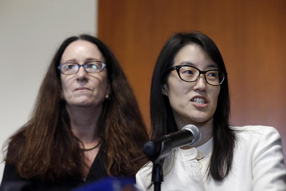 Ellen Pao, right, gives a statement to reporters next to her attorney Therese Lawless at in March, after a jury decided that a prestigious venture capital firm did not discriminate or retaliate against her. (Jeff Chiu/AP)