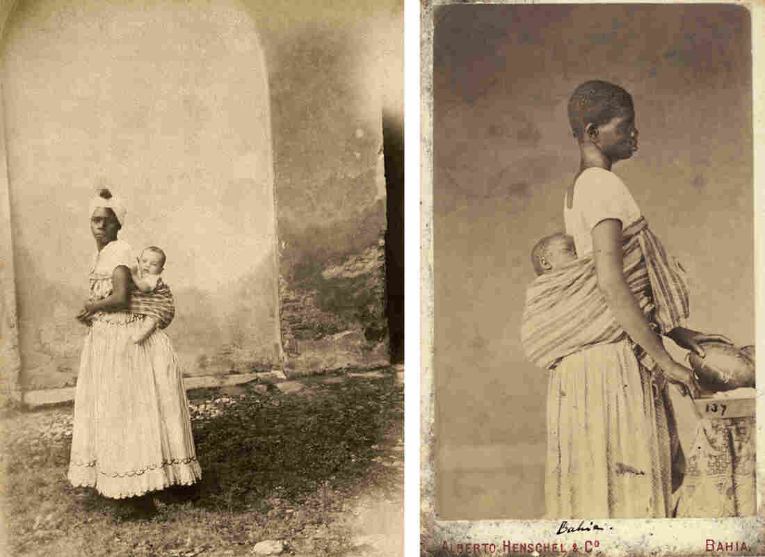 A black woman with white child on her back, Bahia, 1860 (left). An enslaved woman with a sleeping child on her back in an undated photo (right).