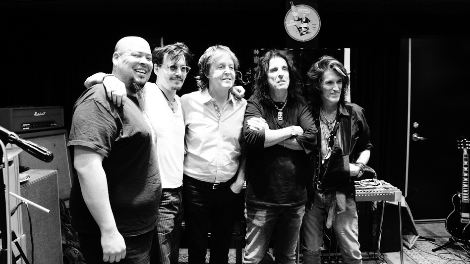 Named for a crew of hard-drinking '70s rock stars, The Hollywood Vampires is one of music's stranger supergroups. From left: Abe Laboriel, Jr., Johnny Depp, Paul McCartney, Alice Cooper and Joe Perry. (Courtesy of the artist)