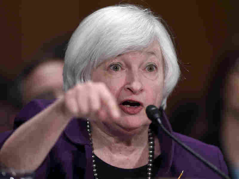 Federal Reserve Chair Janet Yellen testifies before the Senate Banking Committee in July. This week, Yellen and other policymakers are weighing the Fed's first rate increase in nine years.