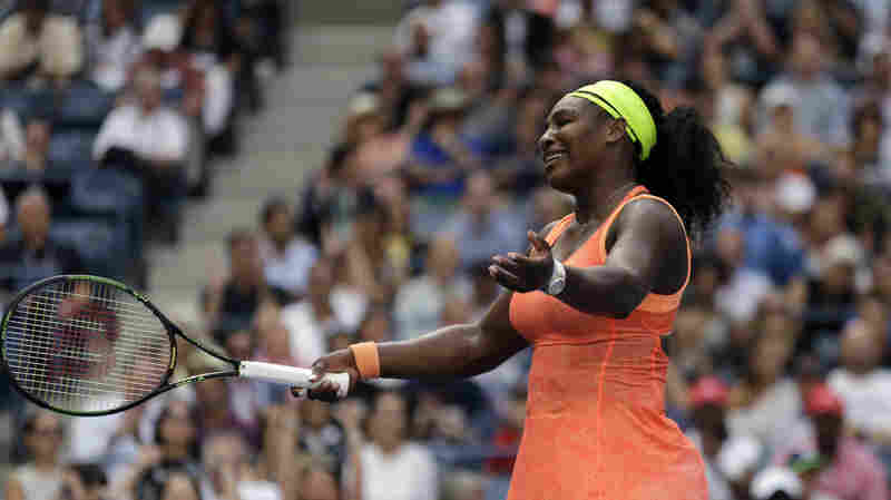 Serena Williams reacts after losing a point to unseeded Italian Roberta Vinci during a semifinal match at the U.S. Open tennis tournament on Friday. Williams went on to lose the match in three sets.