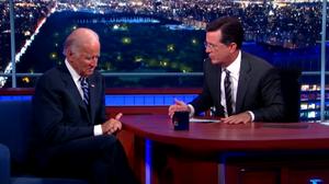 On 'Colbert,' An Emotional Biden Still Doesn't Sound Like A Candidate