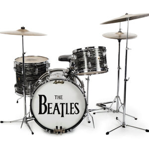 This undated photo provided by Julien's Auctions shows Beatle Ringo Starr's first 1963 Ludwig Oyster black pearl three-piece drum kit    one of the items up for bid.