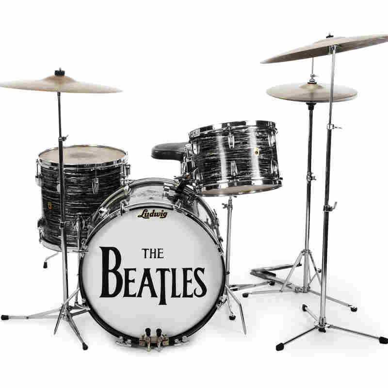 This undated photo provided by Julien's Auctions shows Beatle Ringo Starr's first 1963 Ludwig Oyster black pearl three-piece drum kit — one of the items up for bid.