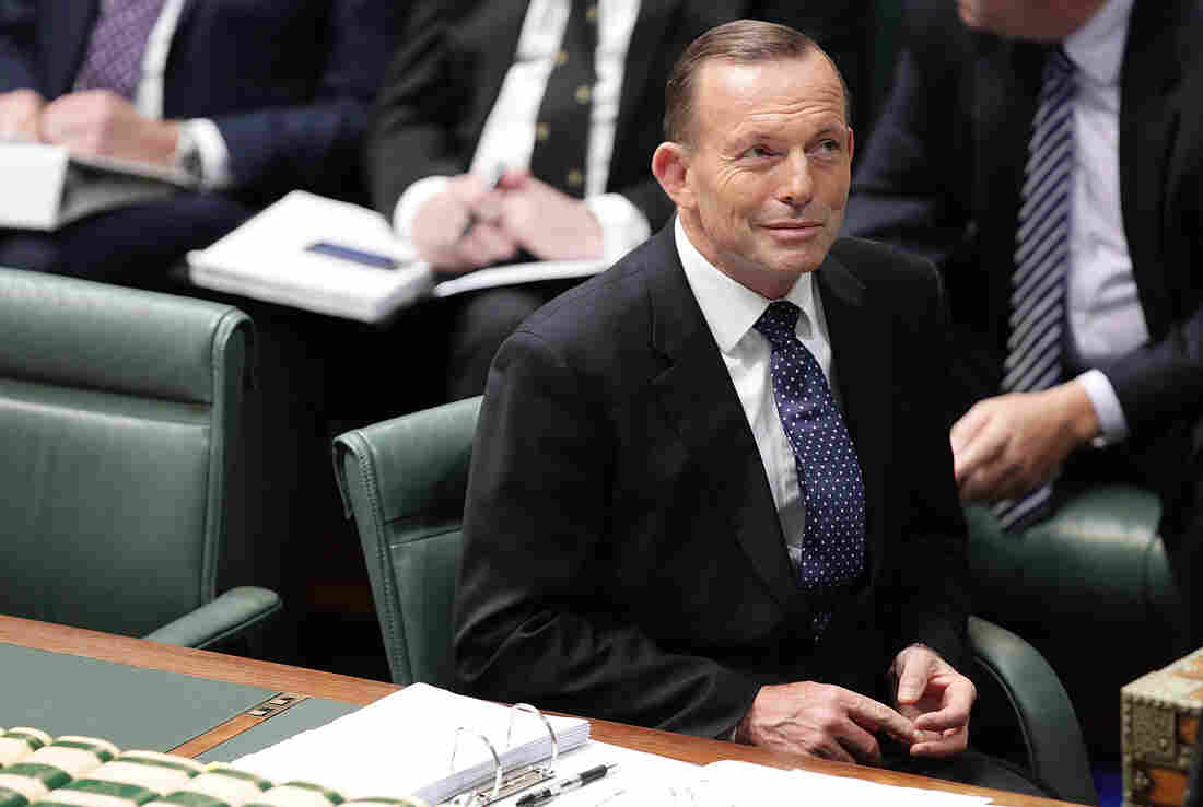 Tony Abbott was ousted as Australia's leader after his own party backed Malcolm Turnbull on Monday. Abbott is seen here during a question time at Parliament House last month.