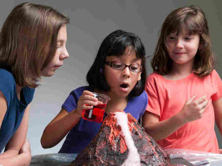 School children conduct the volcano experiment — a right of passage.
