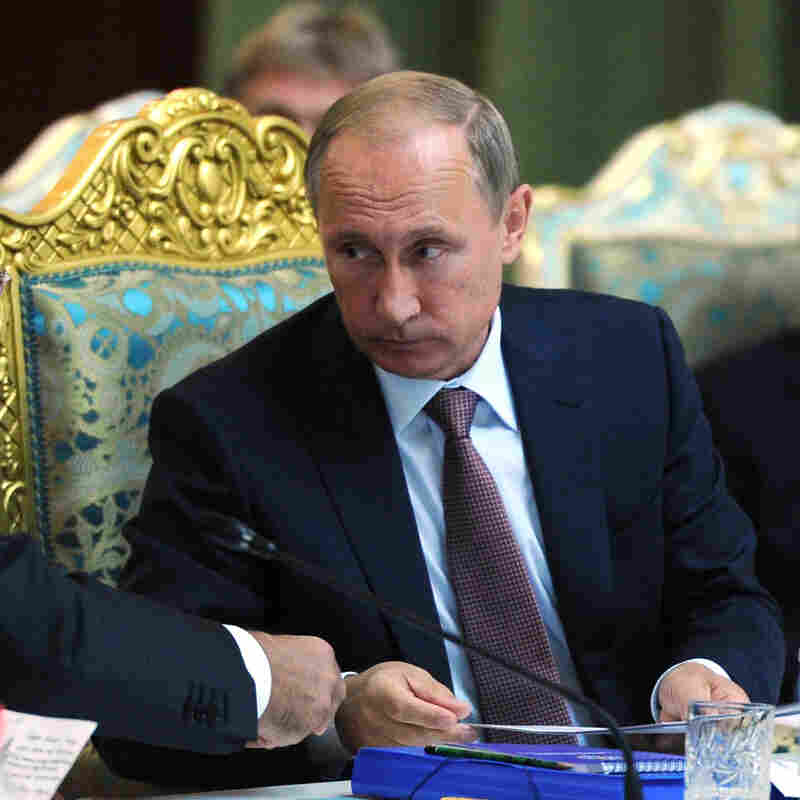 Russian President Vladimir Putin spoke Tuesday at a meeting of the Collective Security Treaty Organization in Dushanbe, Tajikistan.