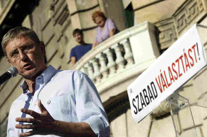 Ferenc Gyurcsany, seen here delivering a speech during a 2012 demonstration against a government plan to amend Hungary's electoral law, served as the country's prime minister from 2004 to 2009.