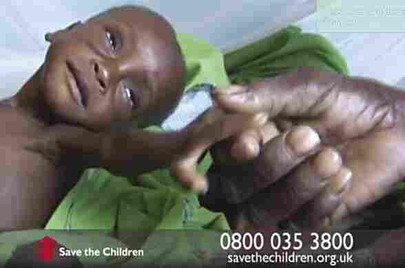 A video still from a Save the Children television fundraising advertisement.