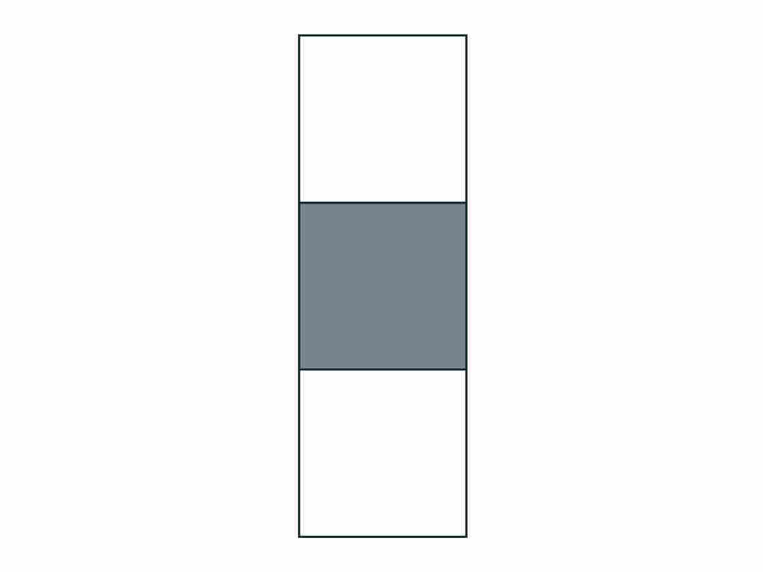 Generally, a class of students will understand right away that the fraction of the shaded area in this rectangle is 1/3 because there are three equal parts.
