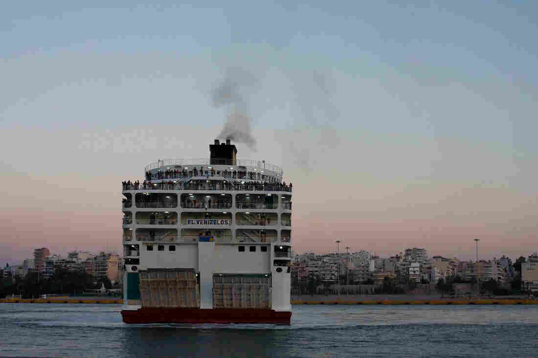 The Eleftherios Venizelos ferry, which Greece now uses exclusively to transport refugees from the Aegean islands, arrives in the port of Piraeus near Athens.