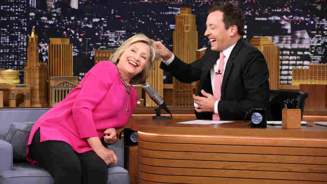 """Asking Tonight Show host Jimmy Fallon if he had ever touched Donald Trump's """"real hair,"""" (he had not) Clinton offered """"you want to touch mine?"""""""