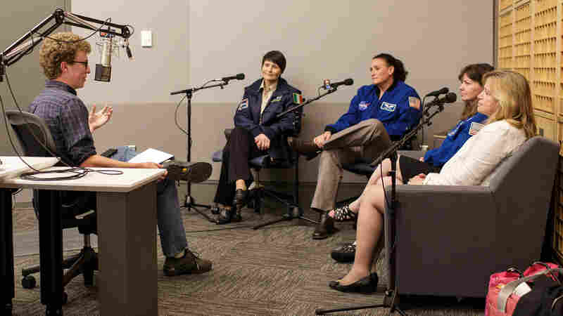 NPR's Adam Cole posed listeners' questions to European Space Agency astronaut Samantha Cristoforetti, NASA astronaut Serena Auñón, NASA astronaut Cady Coleman and NASA Chief Scientist Ellen Stofan on Tuesday at NPR headquarters in Washington, D.C.