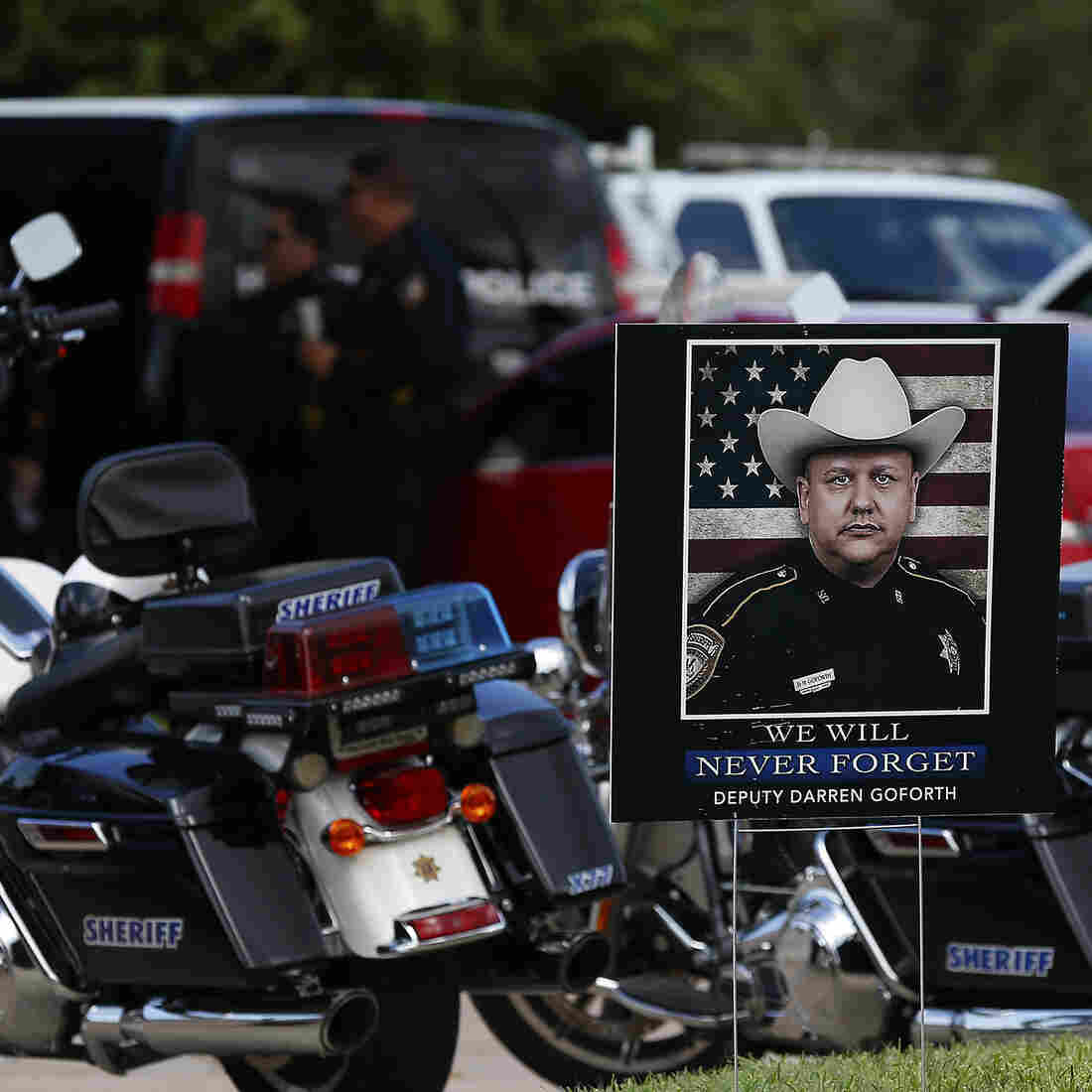 """The funeral for Harris County Sheriff Deputy Darren Goforth was held Sept. 4 in Houston. After Goforth was fatally shot at a gas station on Aug. 29, some spoke about a """"war on cops."""" But while 2014 did see more officer deaths than 2013, one expert says that's not a sign of a statistically significant spike."""