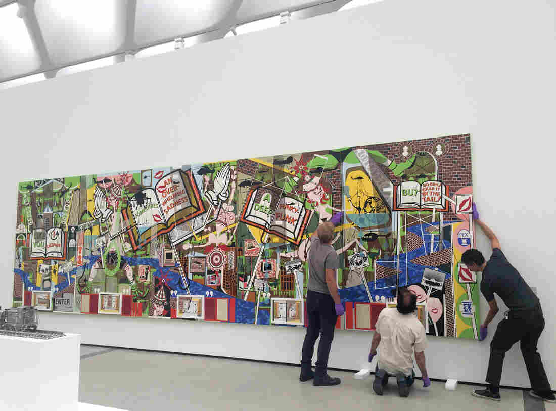 """The installation of the painting """"Like You,"""" by Lari Pittman, 1995."""