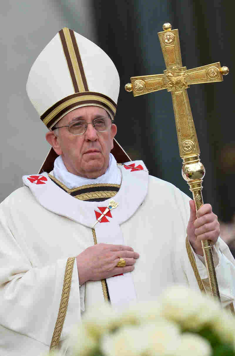 Pope Francis wore a cream-colored chasuble with gold trim to celebrate the Easter Mass on March 31, 2013, at the Vatican. This particular papal ferula features a sheep, driving home the symbolic reference to the pope as shepherd.