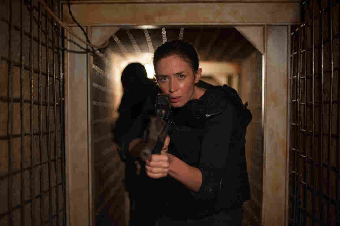 """Emily Blunt stars as Kate Macer in Sicario. She says the film raises questions about the definition of strength: """"Is it somebody who has a gun and does bad things? Or is strength actually strength of character and strength of maintaining your ideals?"""""""