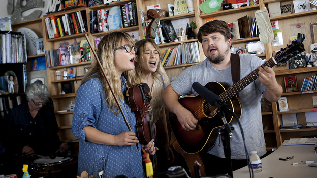 Fiona Apple performs with the Watkins Family Hour at the Tiny Desk. (NPR)
