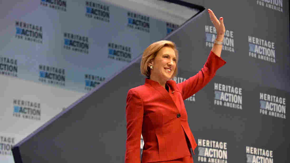 Republican presidential candidate Carly Fiorina speaks at a presidential forum sponsored by Heritage Action in Greenville, S.C.