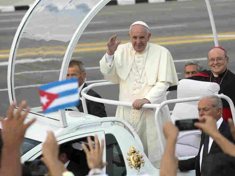 Pope Francis arrives for Mass at Revolution Plaza in Havana, Cuba, on Sunday.