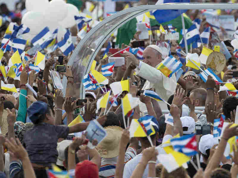 Pope Francis arrives for Mass at Revolution Plaza in Havana on Sunday, where he will celebrate Mass on the first full day of his visit to the island nation.