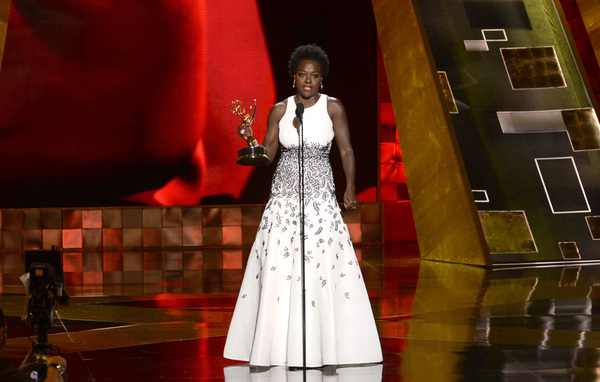 Viola Davis accepts the Emmy for outstanding lead actress in a drama series for How to Get Away With Murder at the 67th Primetime Emmy Awards on Sunday in Los Angeles.