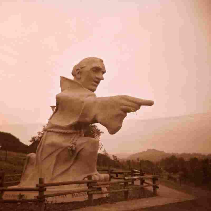 Statue of Junipero Serra at an interstate rest area in California, 2001.
