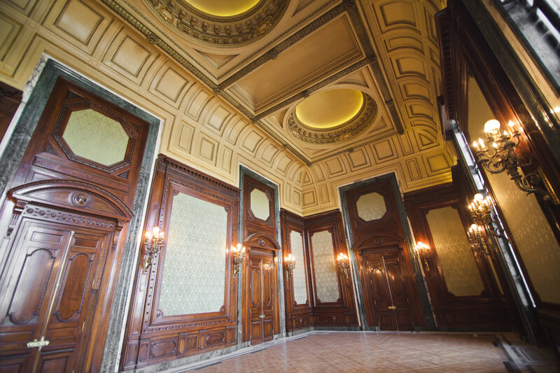 "Walls and vaulted ceilings through the public, or ""noble,"" parts of the building have been painstakingly restored."