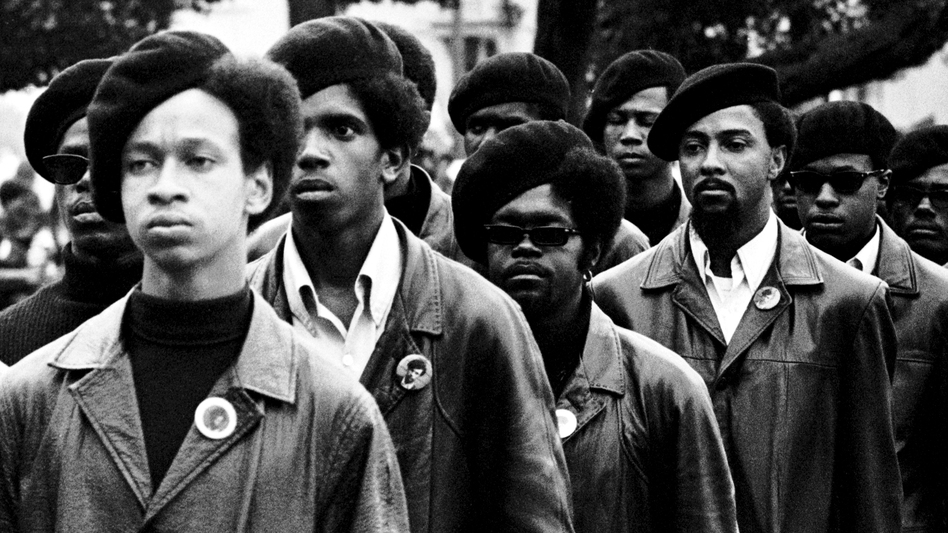Members of the Black Panthers line up at a rally at DeFremery Park in Oakland, Calif. (Courtesy of Stephen Shames and Firelight Media)