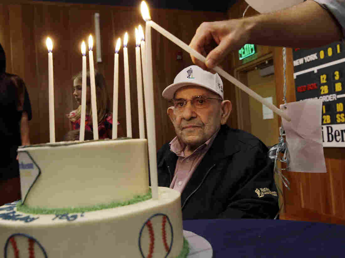 Baseball Hall of Famer Yogi Berra at his 90th birthday celebration at the Yogi Berra Museum on May 12.