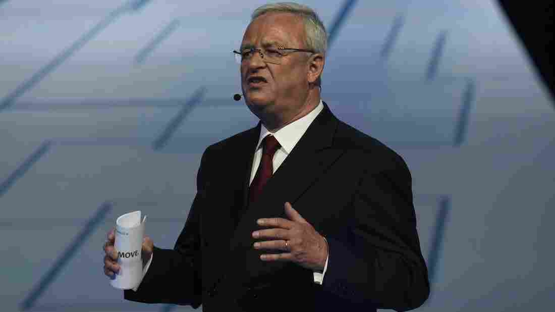 Volkswagen CEO Martin Winterkorn, seen here at last week's Frankfurt Auto Show IAA in Germany, says he is asking the board to accept his resignation.
