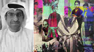 "Sultan Al-Qassemi (left) collects modern and contemporary art from the Arab world like the piece (right) ""Untitled,"" by Ghadeer Saeed."