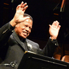Jazz legend Wayne Shorter accepts the applause of the Jazz at Lincoln Center Orchestra during a retrospective of his music in May.