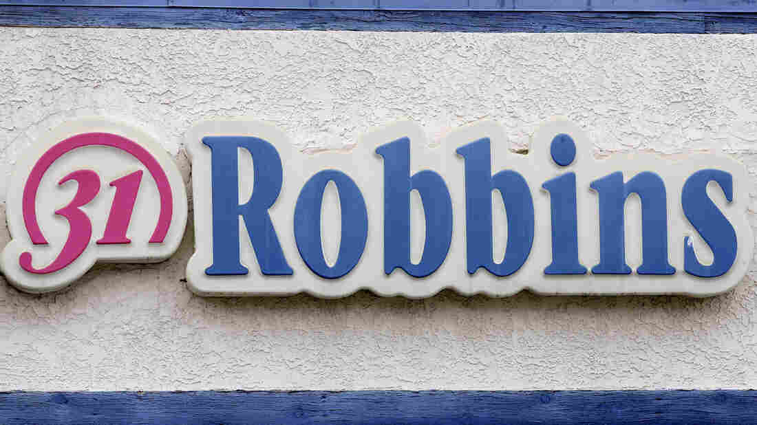 A sign for the Baskin-Robbins ice-cream store in Los Angeles.