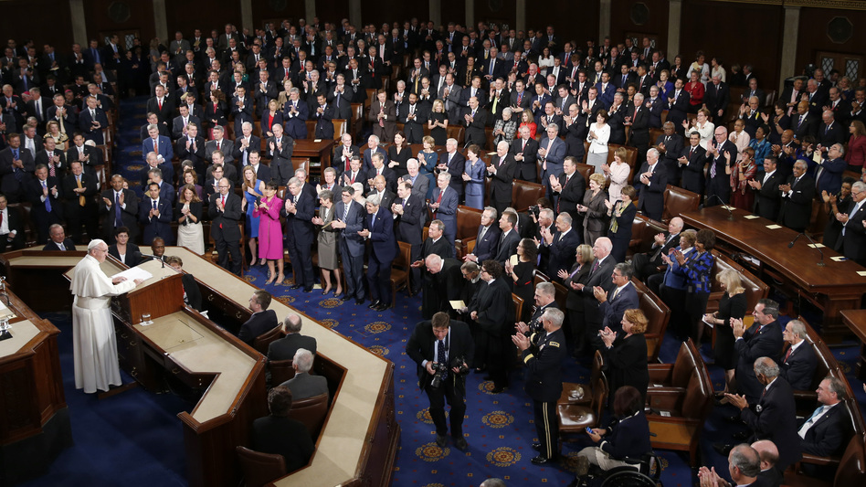 Pope Francis addresses a joint meeting of Congress on Capitol Hill in Washington on Thursday. (Evan Vucci/AP)