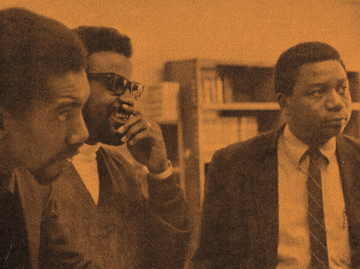 From left: Henry Dumas, William G. Davis and Eugene B. Redmond in 1967, during their tenure as teacher-counselors at the Experiment in Higher Education at Southern Illinois University. (Courtesy of Eugene B. Redmond)