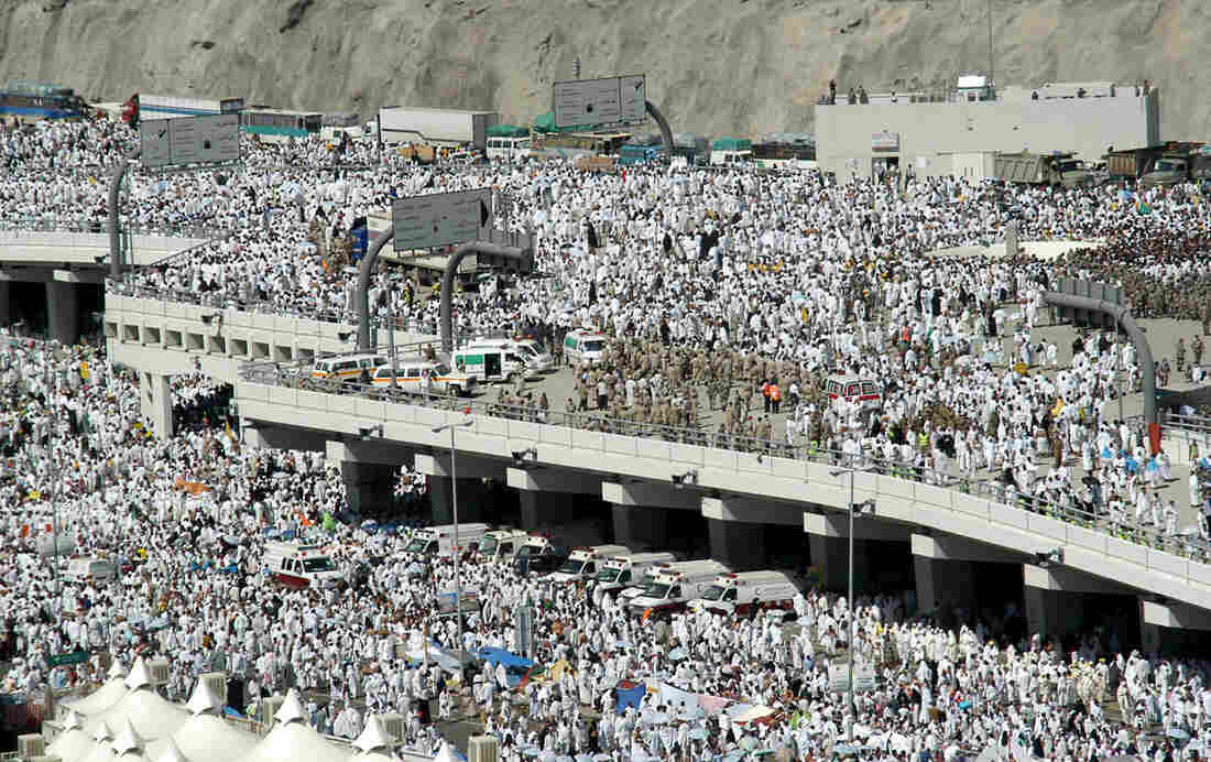 Saudi police and national guard are deployed to the area of a stampede in the Mina valley near the Saudi holy city of Mecca on Thursday. Officials say hundreds of people were killed.