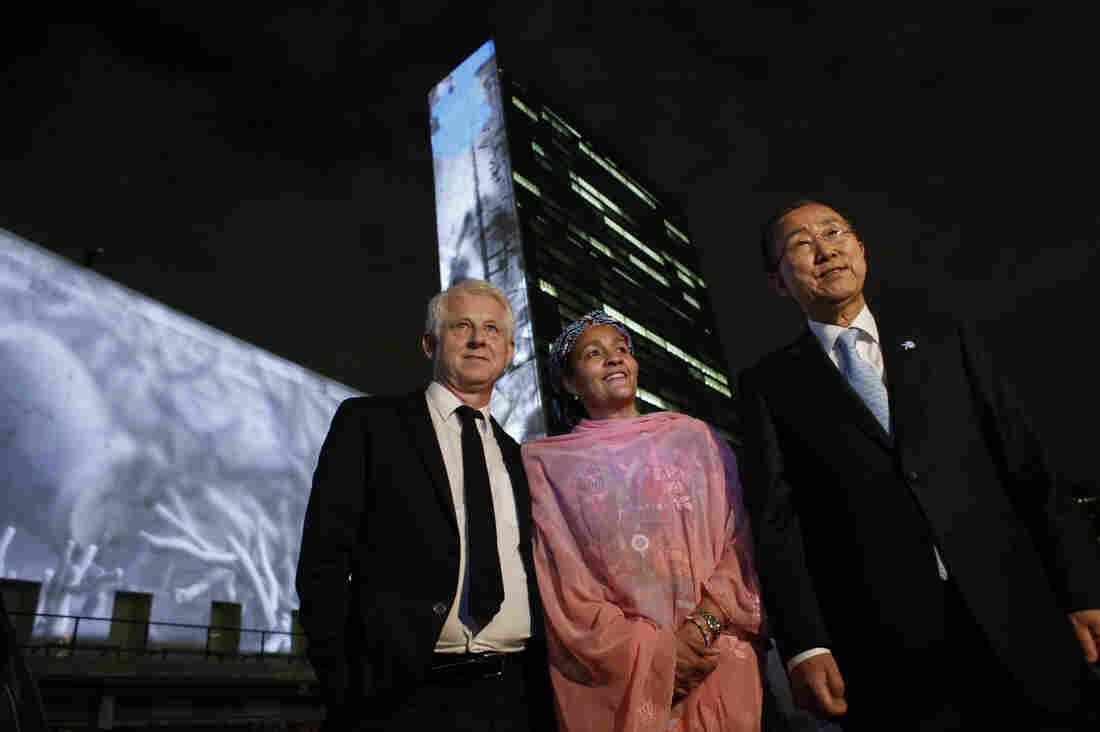 Actually, he loves charity work: Filmmaker (and charity activist) Richard Curtis (left) poses with U.N. Secretary-General Ban Ki-moon and his special adviser Amina J. Mohammed.