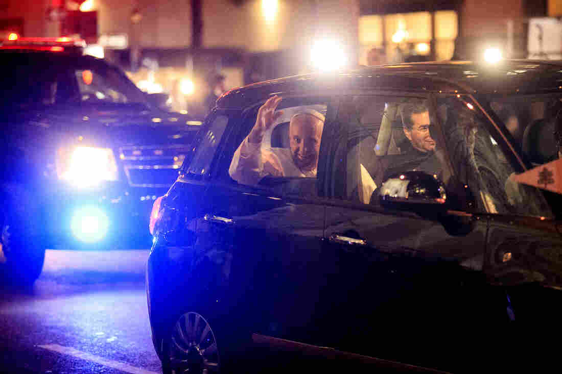 Pope Francis leaves St. Patrick's Cathedral in a Fiat 500L in New York City on Thursday.