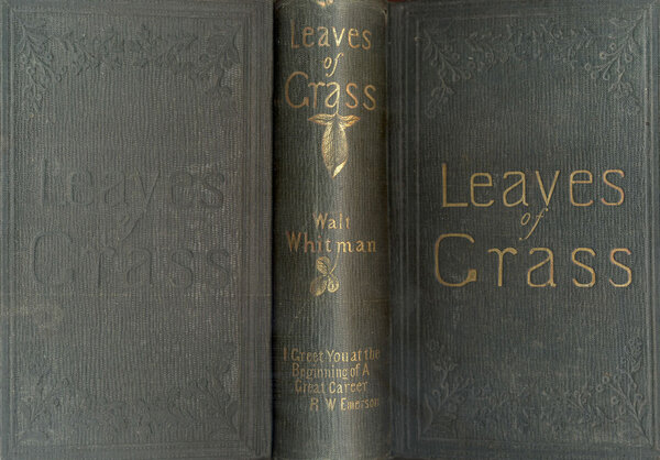 A shot of the 1856 edition of Walt Whitman's Leaves of Grass, with Emerson's blurb on the spine.