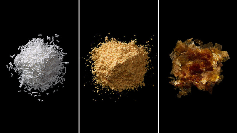 From left: Sodium benzoate, azodicarbonamide, shellac. The images are from Ingredients: A Visual Exploration of 75 Additives & 25 Food Products.