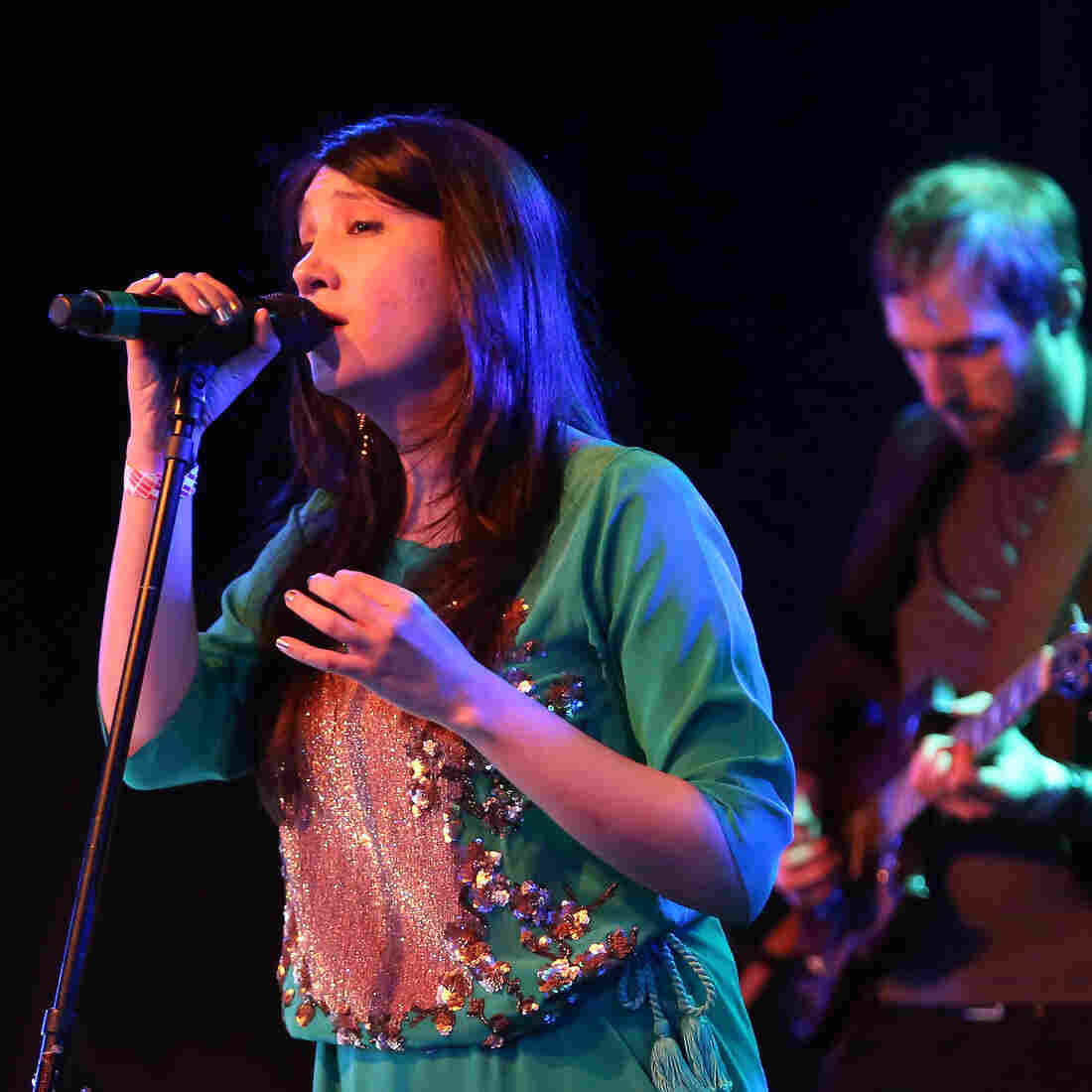 Zeb Bangash performs with her band Sandaraa  at Le Poisson Rouge in New York City last year. (Left to right: Michael Winograd, Bangash, Yoshi Fruchter, Eylem Basaldi.)