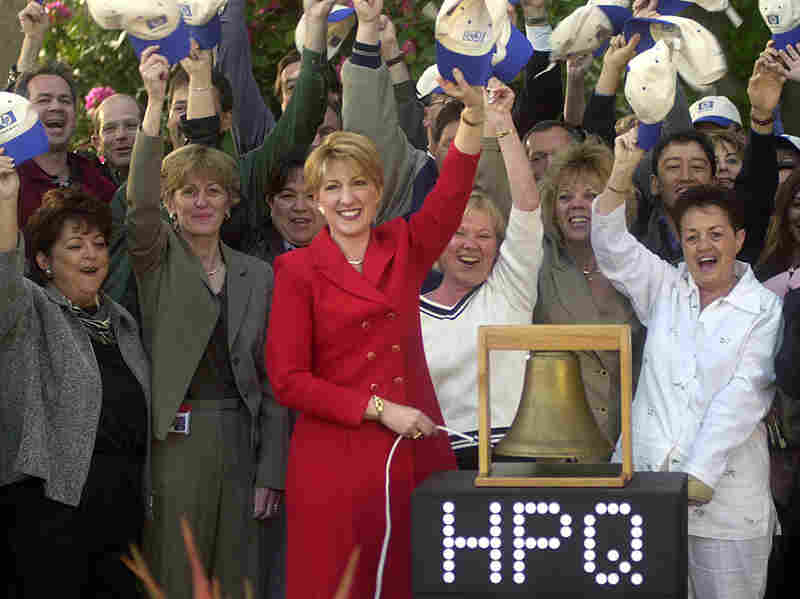 Fiorina rings a bell to virtually open the New York Stock Exchange from HP's headquarters in Palo Alto, Calif., on May 6, 2002. HP changed its ticker symbol from HWP to HPQ to reflect its $19 billion acquisition of Compaq Computer Corp.