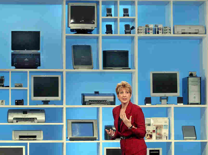Fiorina, then-chairwoman and CEO of Hewlett-Packard Co., introducing her company's 158 new products, at a news conference, in New York on Aug. 11, 2003.