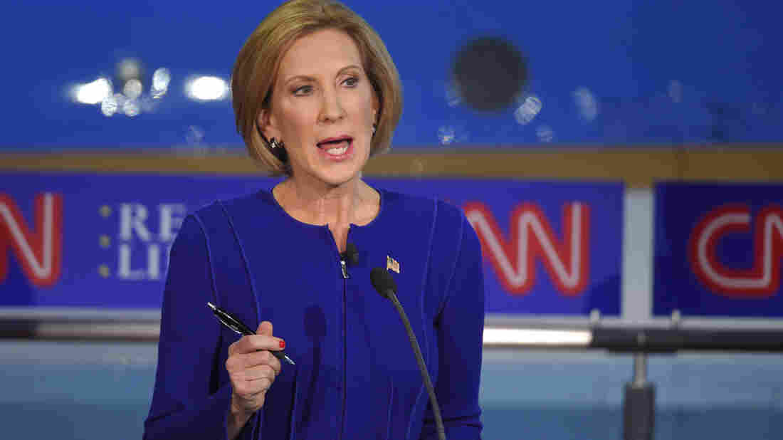 Republican presidential candidate, businesswoman Carly Fiorina speaks during the CNN Republican presidential debate at the Ronald Reagan Presidential Library and Museum on Sept. 16, 2015.