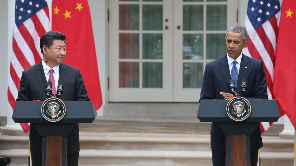 President Obama and Chinese President Xi Jinping hold a joint press conference in the Rose Garden at the White House on Friday.