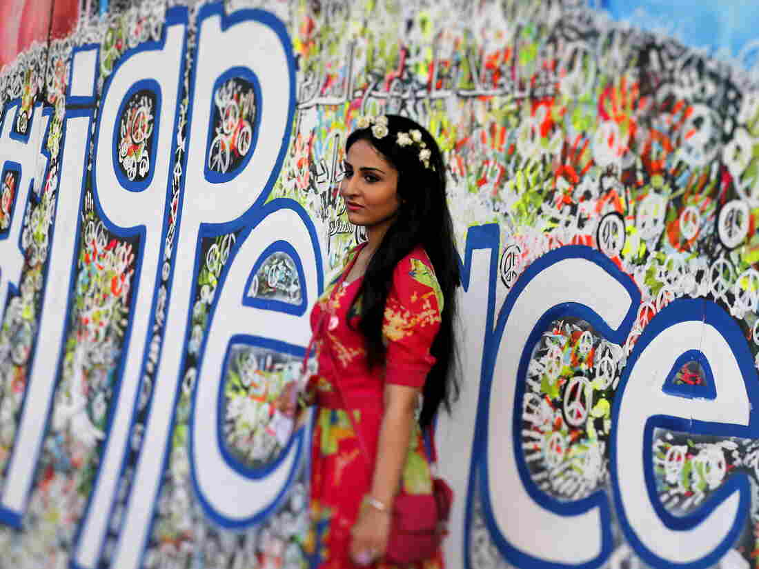 An Iraqi woman attends a festival commemorating the International Day of Peace in Baghdad on Monday.
