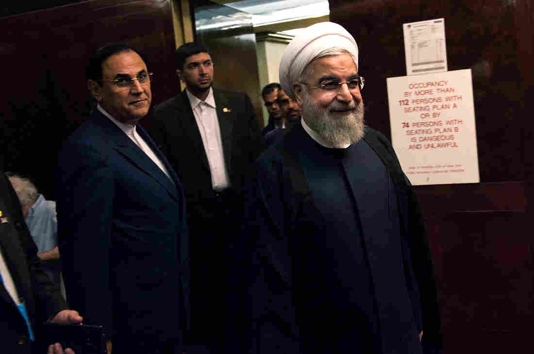 Iranian President Hassan Rouhani arrives for his interview in New York with NPR's Steve Inskeep.