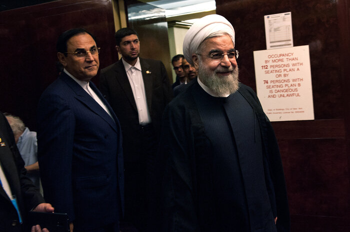 Iranian President Hassan Rouhani arrives for his interview in New York with NPR's Steve Inskeep. (Bryan Thomas/NPR)