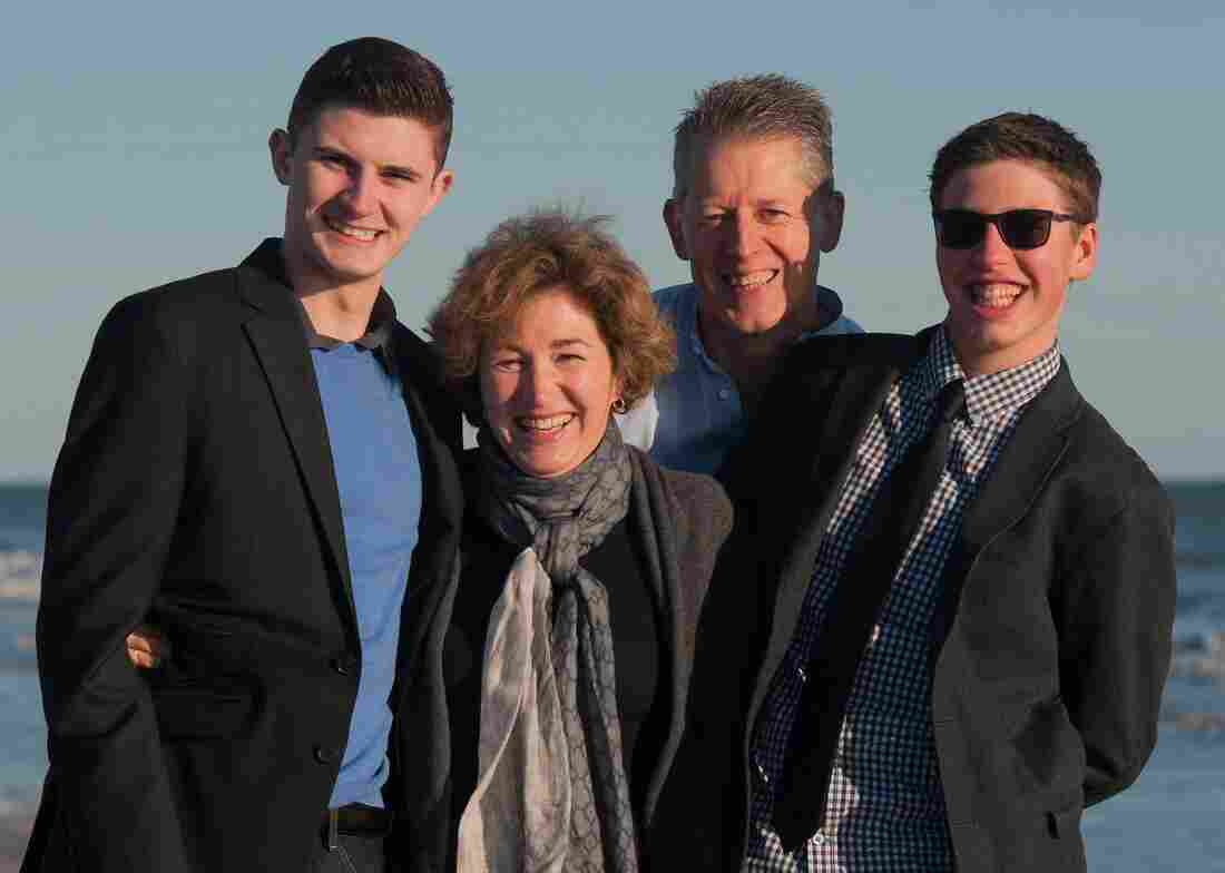 Foreign policy expert Anne-Marie Slaughter poses for a family photo with her husband Andy Moravcsik and their two sons.